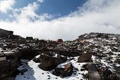 Final campsite for the summit of Kilimanjaro. Tanzania. The highest mountain of Africa 5895 m 19341 ft. above sea level. poster