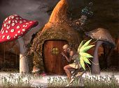 Fairy Belle plays with glowflies outside her gourd home in the magical forest. poster