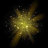 Gold glitter particles background effect. Sparkling texture. Star dust sparks in explosion on black background. Vector Illustration poster