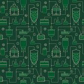 Green seamless background with beer brewing process, production beer, brewery factory production elements. Vector repeating texture poster