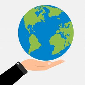 Businessman Hands Holding Globe Earth. Vector Illustration  Love And Save Earth Concept Design.