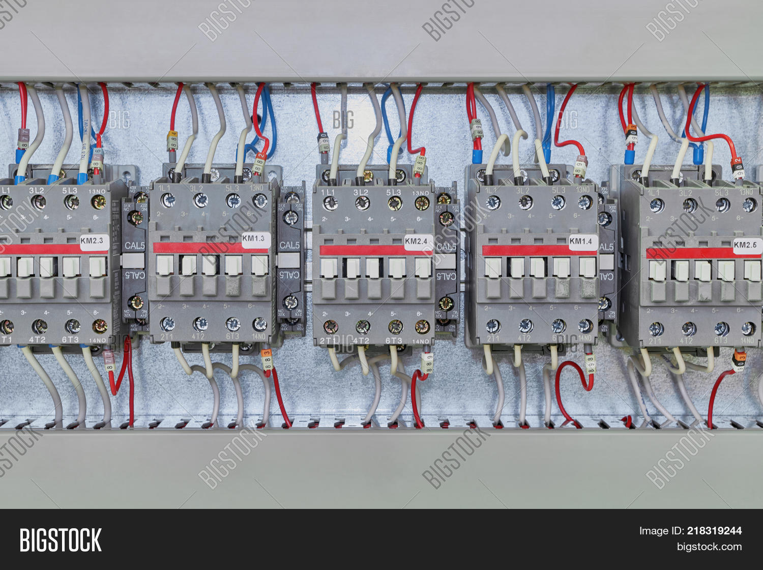 Several Electrical Image Photo Free Trial Bigstock Modern Wiring Contactor On A Mounting Panel In Closet Contactors To Start Motors