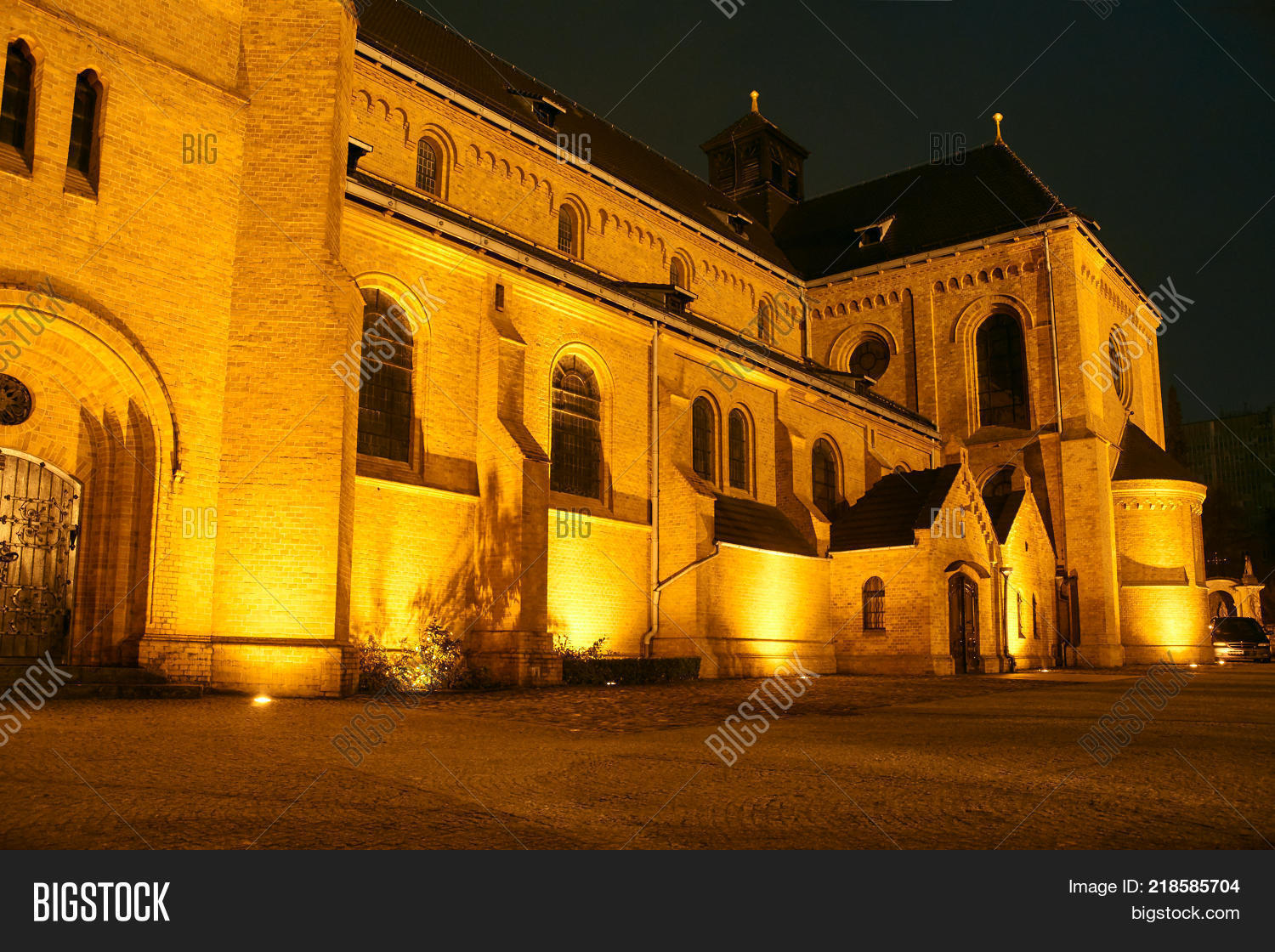 The Neo Gothic Church At Night In Poznan