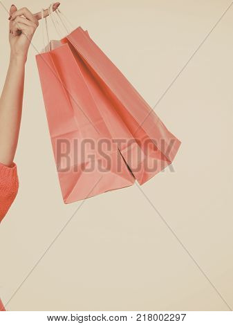 Clothing seasonal sales and accessories concept. Woman in warm furry winter hat holding shopping bags