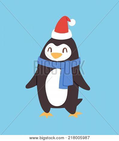 Christmas penguin vector character cartoon cute bird celebrate Xmas playfull happy penguin face smile illustration.