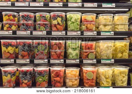 Fresh Chopped And Chunks Fruits Plastic Box On Display In