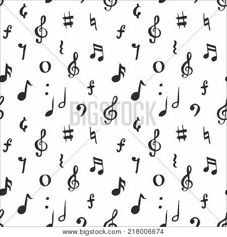 Music note seamless pattern vector illustration. Hand drawn sketched doodle music notes symbols.
