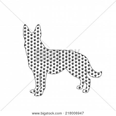 Silhouette of german shepherd filled with black dog paw prints pattern from inside, isolated on white background. Vector illustration, sign, symbol, clip art.