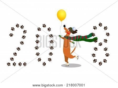 Cute cartoon dachshund dressed in knitted scarf mittens and hat skating on paws through number 2018 made of paw prints isolated. Vector clip art symbol of 2018 year element for calendar design. poster