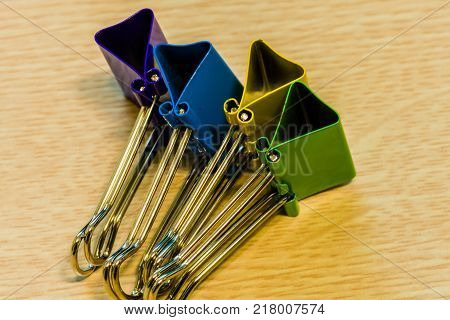 Colorful Paperclips Standing On Edge