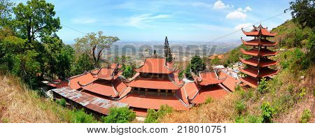 Phan thiet Vietnam - March 29 2015: Panorama view of Pagoda of Nirvana Buddha on Ta Cu mountain in Vietnam It was formed on October 26 1996 in Tan Lap commune Ham Thuan Nam district