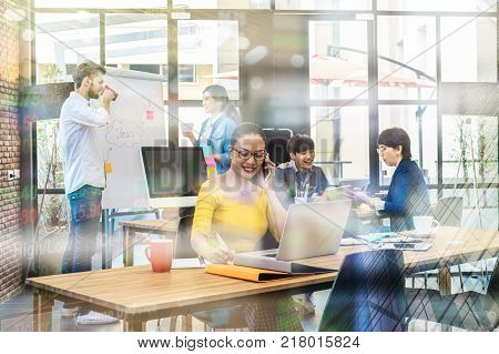 Portrait of Businesswoman working with computer over the photo blurred of Group Of Asian and Multiethnic Business people with casual suit in the modern Office people business group concept