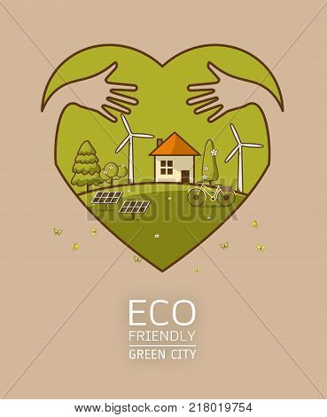 green earth in heart with hand hug concept - ecology concept green information with ecology and green city of energy saving or clean energy with green collection.Ecology info collectionChartsSymbolsGraphic elements.