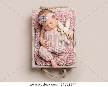 Gorgeous newborn baby sleeping, top view