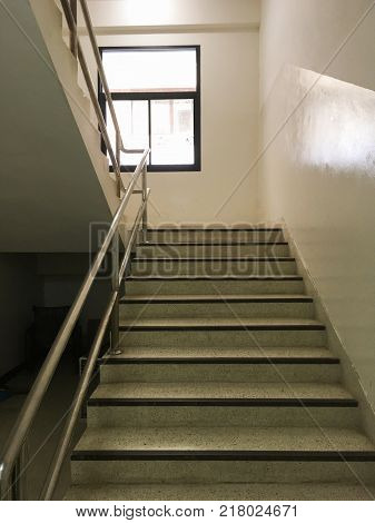 close up cement stair in hospital building