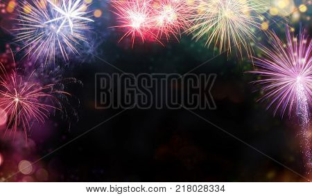 Abstract colored firework background with free space for text. Celebration and anniversary concept