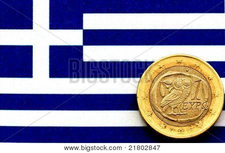 Euro on a Greek flag