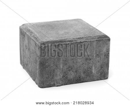 Single cement paving stone isolated on white