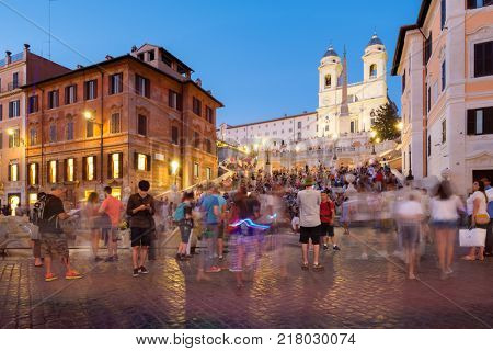 ROME,ITALY - JULY 17,2017 : The famous Spanish Steps and Piazza d Spagna in Rome at sunset
