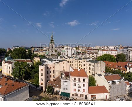 Aerial Belgrade cityscape in Serbia at summer evening