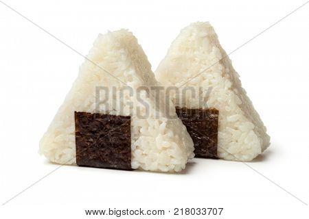 Fresh made Japanese triangular onigiri on white background