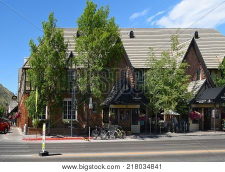JACKSON HOLE, WYOMING - JUNE 26, 2017: The Wort Hotel. The somewhat Tudor-style building was the first luxury hotel in Jackson.