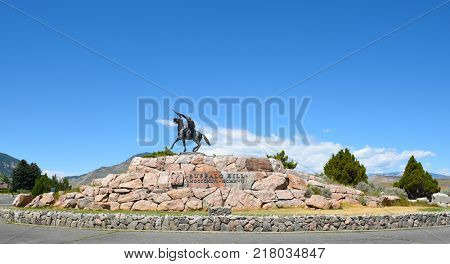 CODY, WYOMING - JUNE 24, 2017: The Scout statue at Buffalo Bill Center of the West. A complex of five museums and a research library featuring natural history, art and artifacts of the American West.