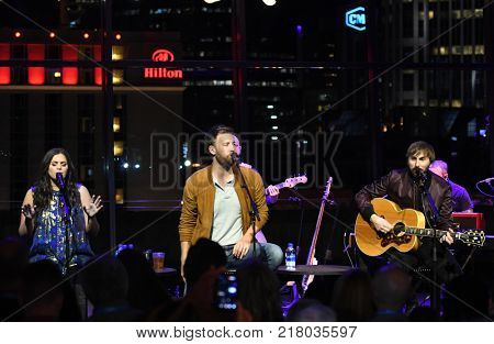 NASHVILLE, TN-NOV 10: (L-R) Hillary Scott, Charles Kelley and Dave Haywood of Lady Antebellum perform for Music Happens Here at Country Music Hall of Fame on November 10, 2017 in Nashville, Tennessee.