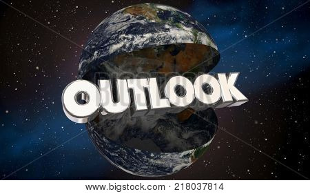 Outlook Global International Prediction Forecast Earth 3d Illustration - Elements of this image furnished by NASA
