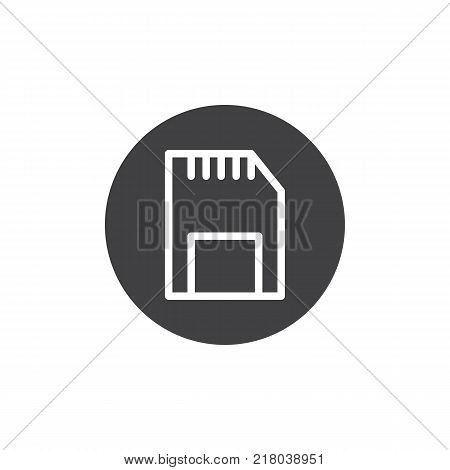 SD memory card icon vector, filled flat sign, solid pictogram isolated on white. Symbol, logo illustration.