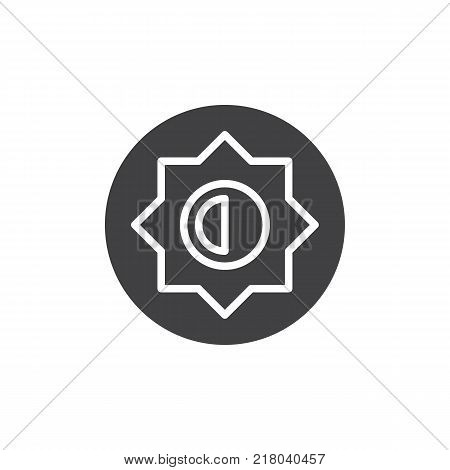 Brightness and contrast setting icon vector, filled flat sign, solid pictogram isolated on white. Photo camera manual settings symbol, logo illustration.