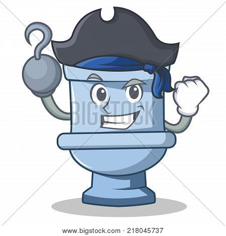 Pirate toilet character cartoon style vector illustration