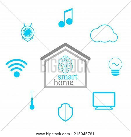 Smart Home Concept. Minimalist Design. Smart Systems And Technology. Modern Infographic Elements. Ve