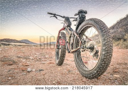 fat bike on desert trail with deep, loose gravel - Big Hole Wash Trail in  Red Mountain Open Space north of Fort Collins, Colorado, a photo with a digital painting filter applied
