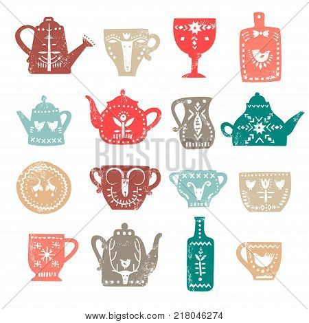 Vector set of stylish teapots and mugs with white folk patterns and textures. For the menu of tea cafe packing posters.