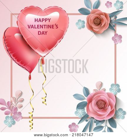 love Invitation card Valentine's day balloon heart on abstract background with text . Vector illustration.