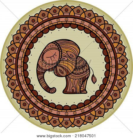 Colored cute elephant illistration in frame mandala. Indian theme with ornaments. Hand-drawn illustration.