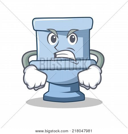 Angry toilet character cartoon style vector illustration