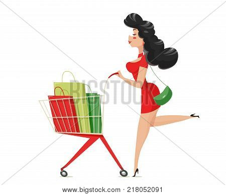 Shopping. Girl with supermarket cart. Isolated white background. Eps10 vector illustration.