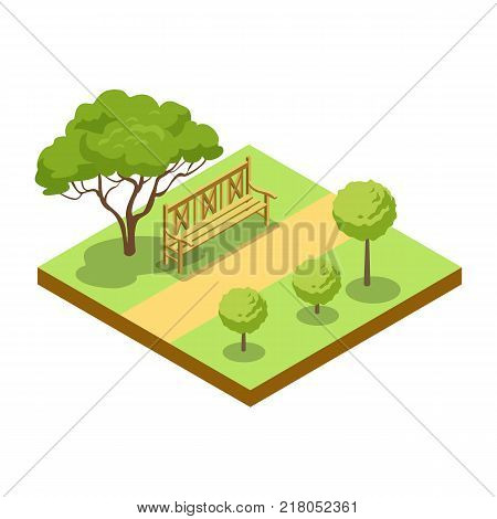 Park alley with wooden bench and trees isometric 3D icon. Decorative plant and green grass vector illustration. Nature map element for summer parkland landscape design.