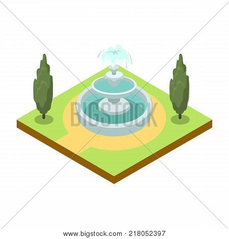 Park alley with fountain isometric 3D icon. Decorative plant and green grass vector illustration. Nature map element for summer parkland landscape design.