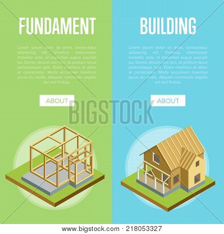 Foundation pouring, construction of walls, siding, roof installation isometric vector illustration. Architectural engineering, construction stages of countryside house, building and development set