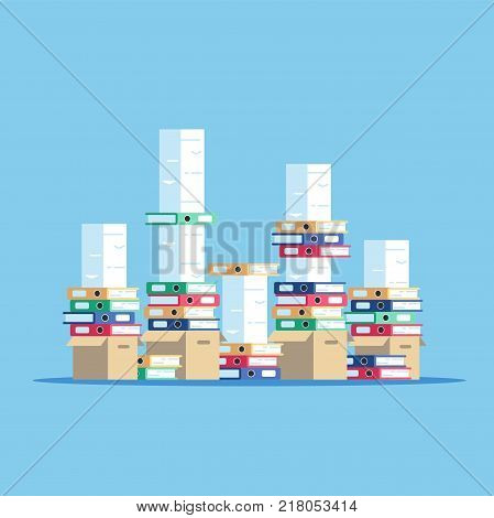 Large pile of cardboard boxes with folders and documents. A huge stack of papers and file folders. Paper work vector flat illustration.