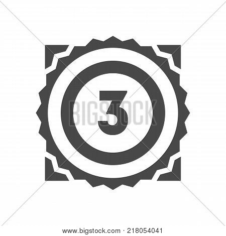 Third place trophy icon isolated on white background. Championship ceremony label, winner competition sign, award symbol, success and victory vector illustration