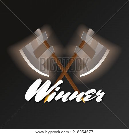 Winner element with crossed halberds. Shiny medieval weapon for computer game design. Confrontation versus sign, fight opposition concept, epic battle competition vector illustration.