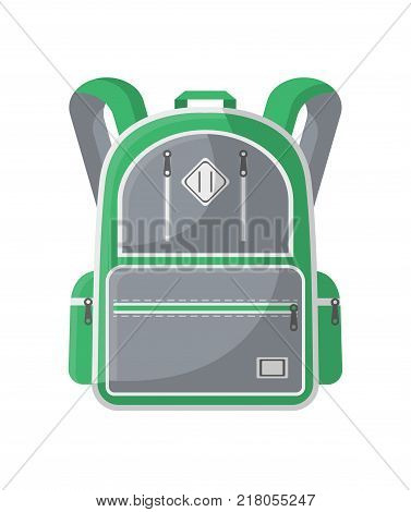 Camp knapsack icon. Hiking and travel backpack vector illustration isolated on white background in flat design.