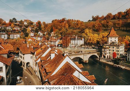 View of the Old City of Bern with the bridge Untertorbryukke over Aare river. Bern, Switzerland