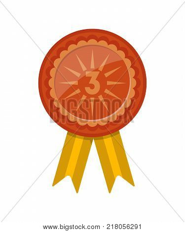 Third place award badge with ribbon isolated on white background. Champion achievement medallion, sport competition badge, winner trophy vector illustration.