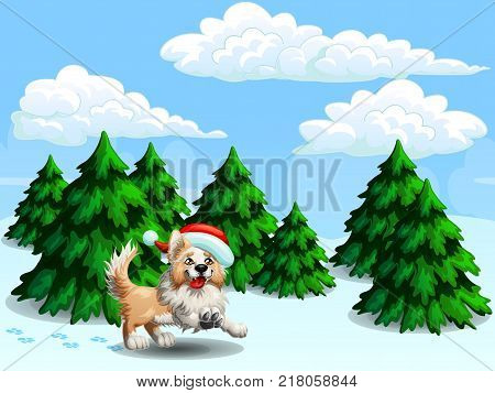 The cheerful yellow puppy of a Border Collie wish red cap against the background of the landscape winter forest from fir-trees. A cartoon vector illustration.