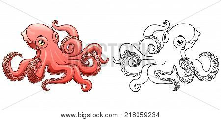 The lovely pink octopus and black contour line on a white background isolated. Marine cephalopod animal. Vector cartoon illustration. Manual sketch, page coloring book.